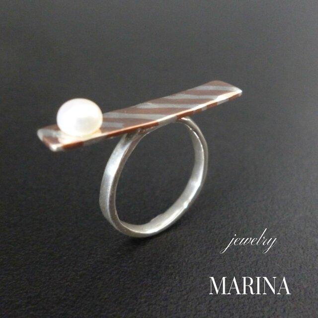 ZEBRA ring new-mokumegane 真珠の画像1枚目