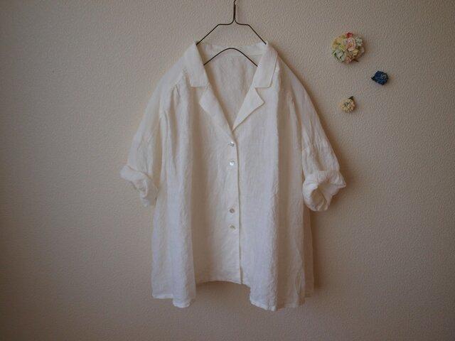 LINEN 開衿シャツ *ホワイト* size FREEの画像1枚目