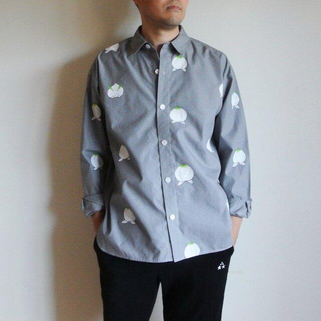 メンズ・ギンガムチェックシャツ黒 <桃と真向き兎>の画像1枚目