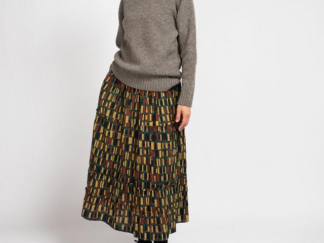 ブロックプリント ティアードロングスカート グリーンの画像1枚目