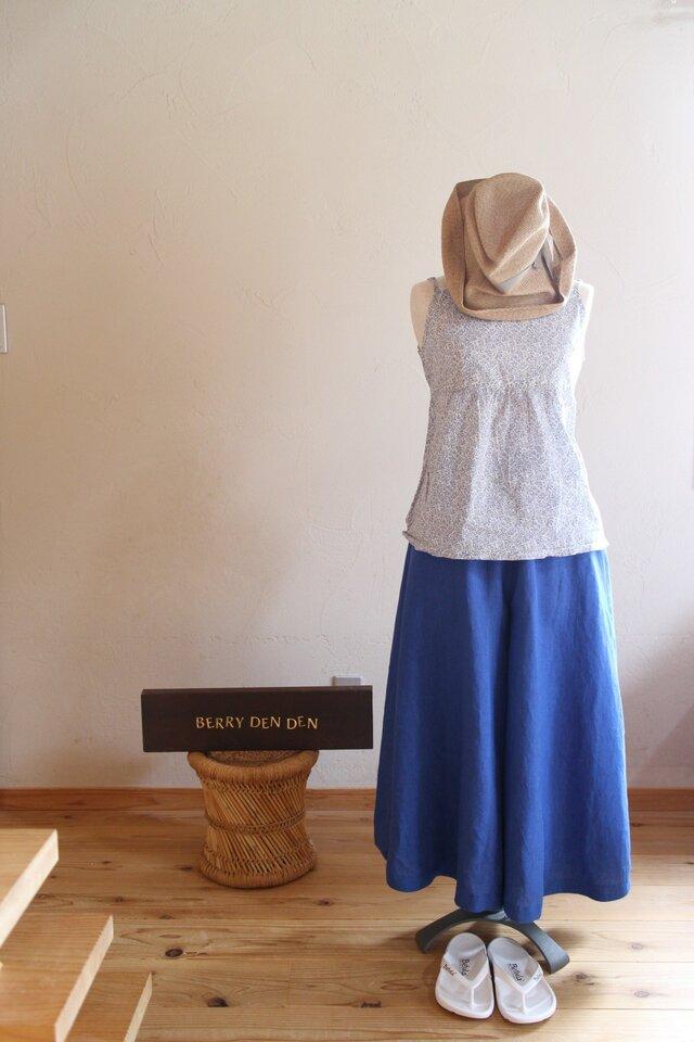 リネン「ロイヤルブルー」83cm丈の画像1枚目