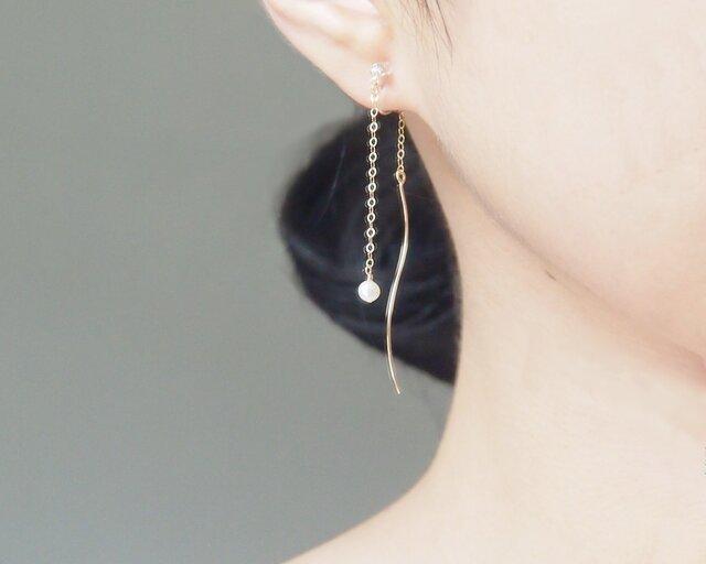 14kgf:アメリカンピアスのようなイヤリング~一粒パール~の画像1枚目