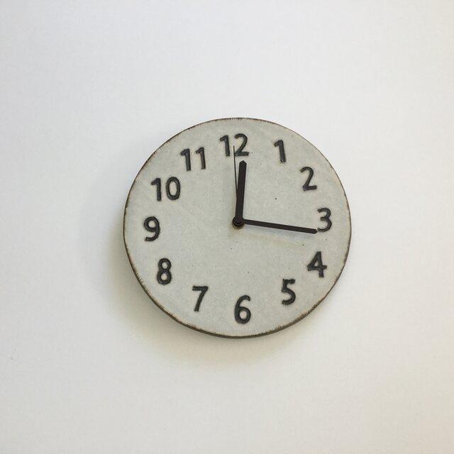 (大)陶シンプル 掛け時計 白の画像1枚目