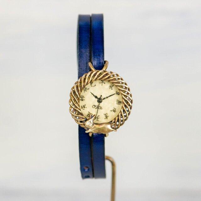 月見て跳ねる子ウサギ腕時計SSレモン江戸文字の画像1枚目