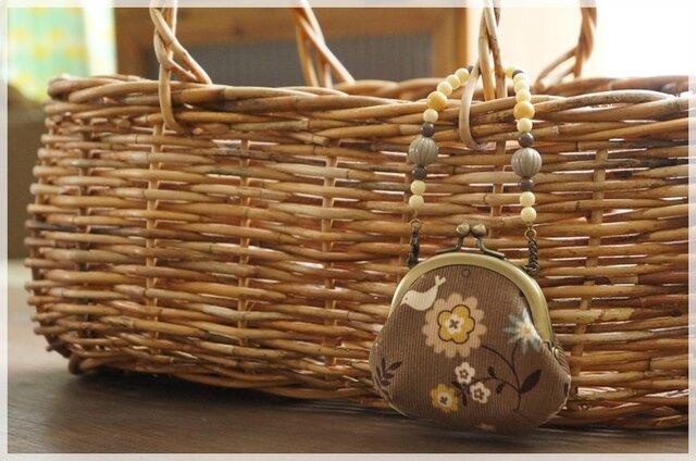■がま口バッグチャーム / コーデュロイのお花と小鳥■の画像1枚目