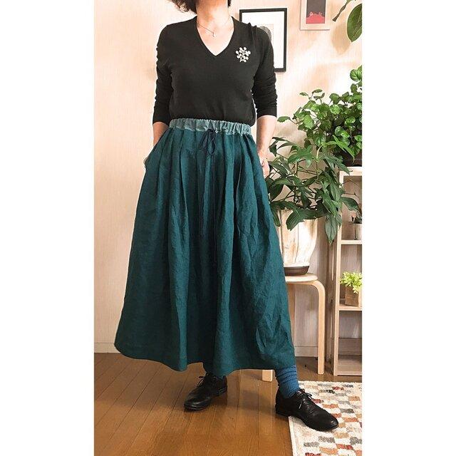 バイカラータックギャザースカート グリーン×アッシュミントの画像1枚目