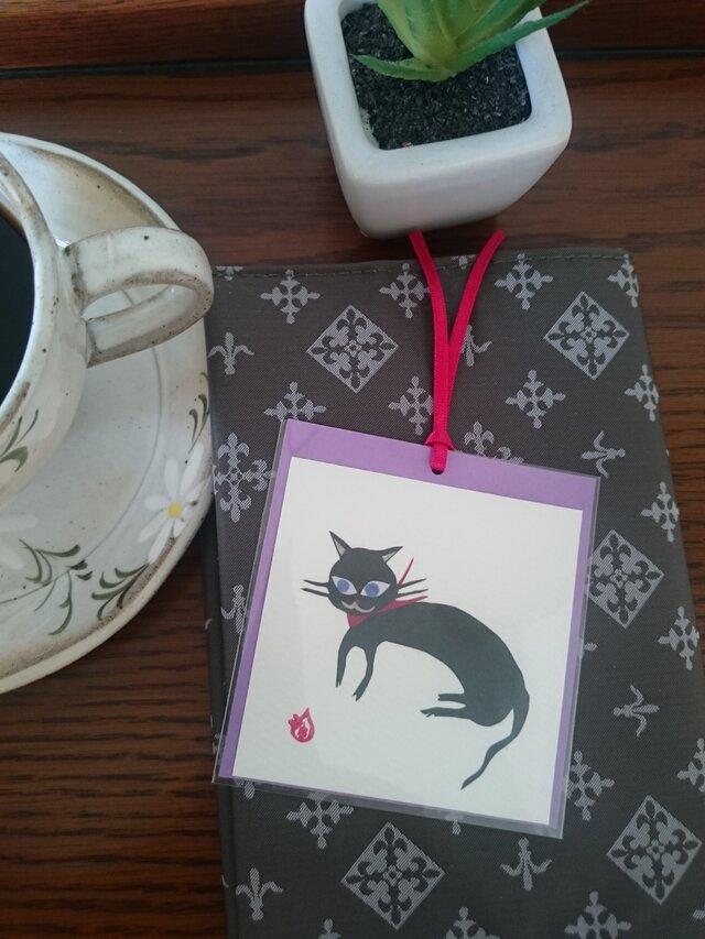しおり(黒猫)【はり絵 原画】の画像1枚目