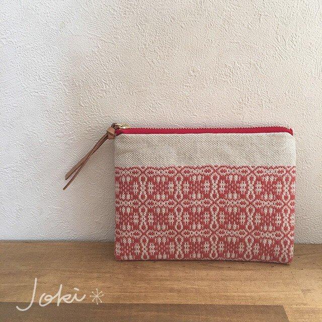 pouch[手織りミニポーチ]ナチュラルレッド×レッドファスナーの画像1枚目