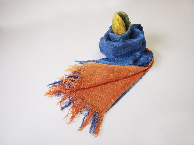 国産シルク100%手描き染めストール orange&blue&yellowの画像1枚目