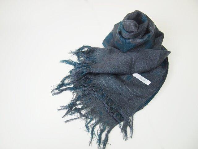 国産シルク100%手描き染めストール gray&blueの画像1枚目