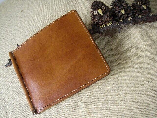 マネークリップ カード入れ付き ヌメ革 の画像1枚目