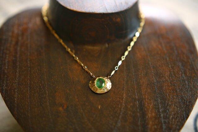 【再販】グリーントルマリンのK10YGのネックレスの画像1枚目