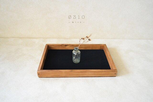 0310 国産ひのきのカフェトレイ(黒ベロア生地)アンティーク色の画像1枚目