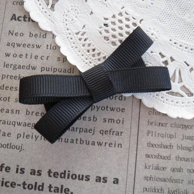 ★再販・りぼん★ 黒のシンプルなダブルリボンのヘアクリップの画像1枚目