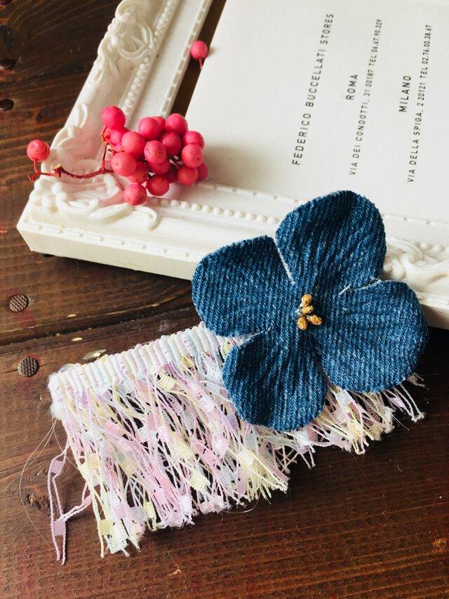 乙女な紫陽花デニムとパステルカラーのバレッタの画像1枚目