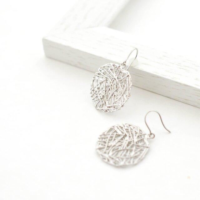Mesh plate pierces(silver)の画像1枚目