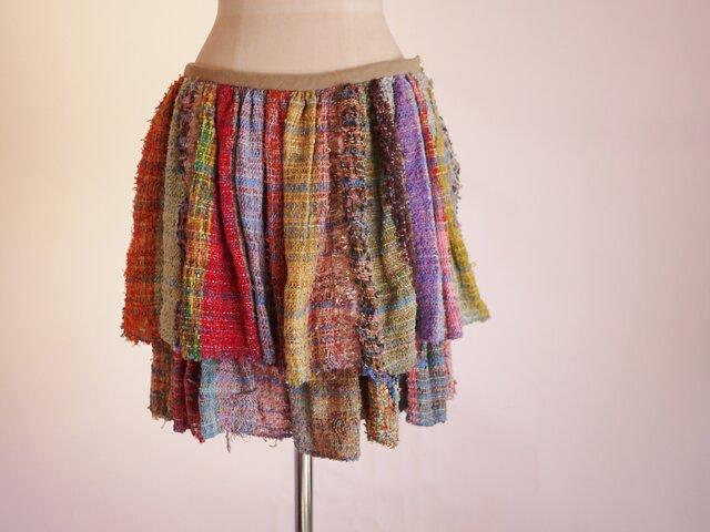 手織り フリルレイヤースカートの画像1枚目