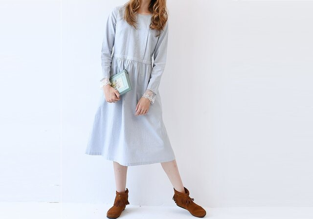 【M】初秋シンプル刺繍入りポケット付き長袖ワンピース♪の画像1枚目