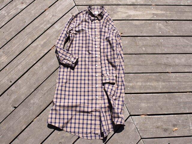 peruvian check shirt onepiece  ペルーヴィアンピマ播州織 シャツワンピースの画像1枚目