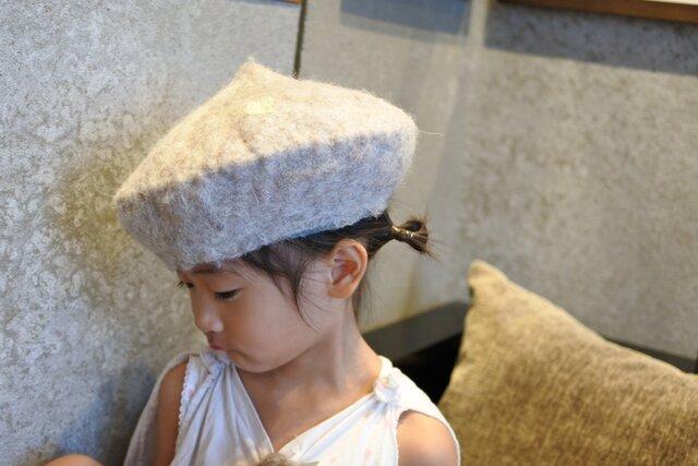 kids ベレー帽 felt 〜スタンダード 白〜 【リバーシブル対応】(2歳〜10歳頃)の画像1枚目
