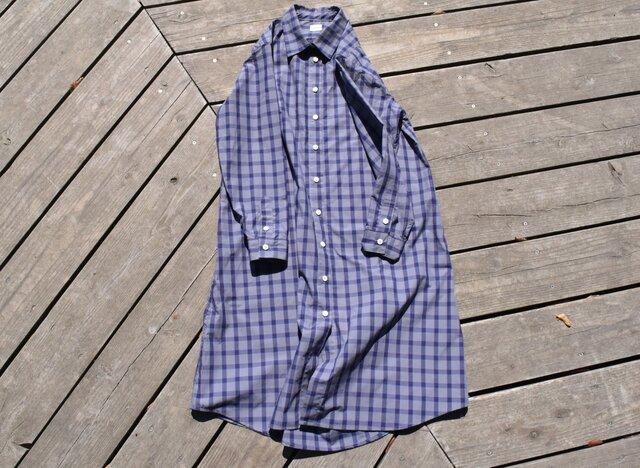 SALE peruvian check shirt onepiece  ペルーヴィアンピマ播州織 シャツワンピースの画像1枚目