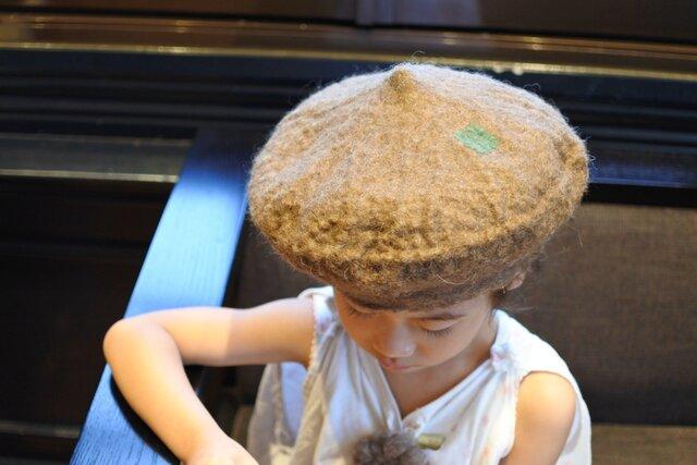 kids ベレー帽 felt 〜スタンダード 淡茶〜 【リバーシブル対応】(2歳〜10歳頃)の画像1枚目