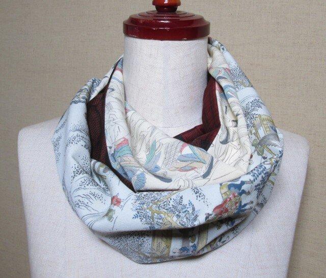 着物リメイク 時代人物模様×大島紬着物から作ったスヌードの画像1枚目