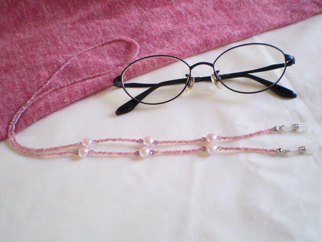 眼鏡チェーン(スワロと淡水パール)の画像1枚目