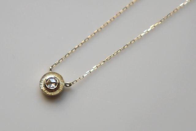 K10 Rosecut diamond necklace★ローズカット★ダイヤモンド★ネックレス★華奢の画像1枚目