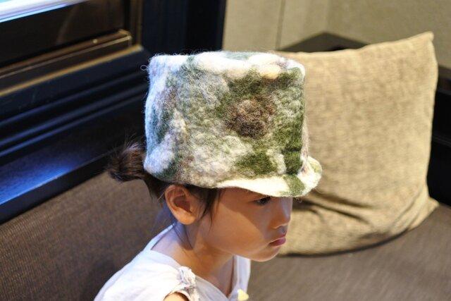 kids ピノ帽 felt 〜 マーブル 迷彩 × ピンク 〜 【リバーシブル対応】(2歳〜6歳頃)《受注製作》の画像1枚目