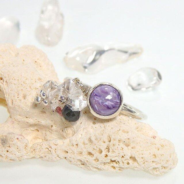 ~高貴な紫~ チャロアイトとハーキマーダイヤモンドのリング 10.5号の画像1枚目