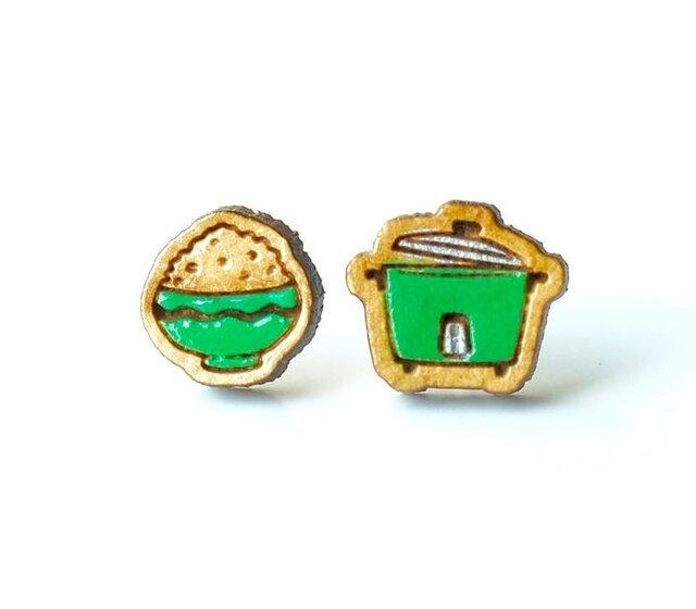 『田田製作所』手作り レディースイヤリング 炊飯器緑の画像1枚目