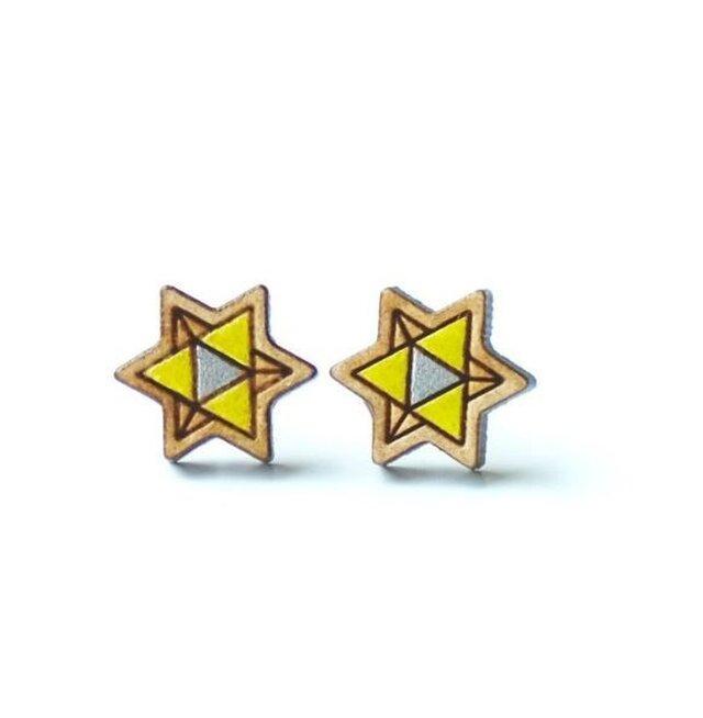『田田製作所』手作り レディースイヤリング 星(黄)の画像1枚目