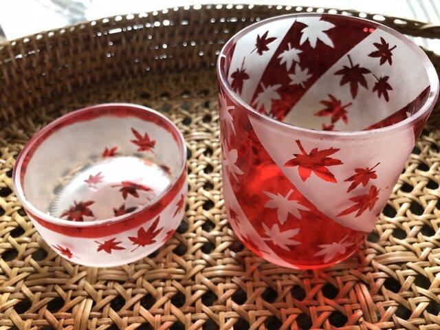 modern 紅葉グラス&おつまみいれセットの画像1枚目