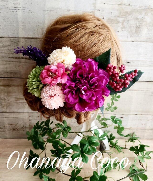 眩花 紫ダリアとローズの髪飾り8点Set No263の画像1枚目