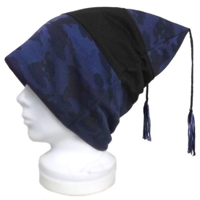 迷彩柄 ジャガード織ニット/スクエアワッチキャップ(ゆったり)◆ブルー系の画像1枚目