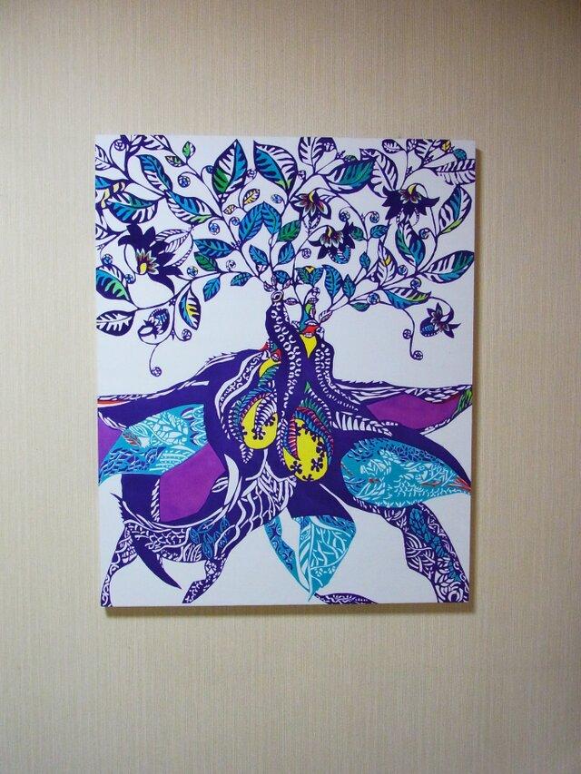 植物模様のパネル(パープル青)の画像1枚目