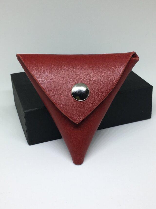 三角コインケース 牛革イタリアンレザー 赤の画像1枚目