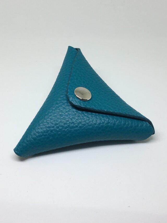 三角コインケース 青 牛革イタリアンレザーの画像1枚目