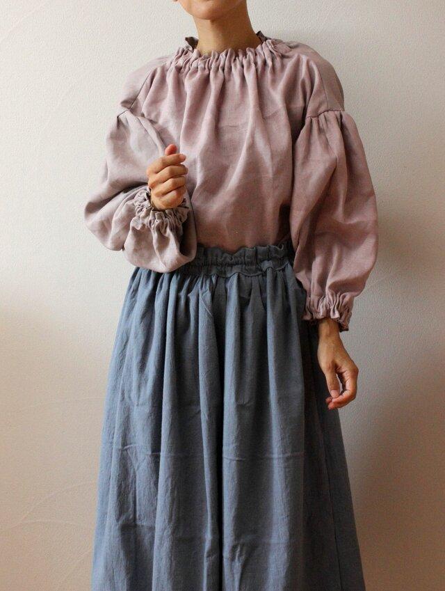 くすみブルーグレー ギャザースカートの画像1枚目