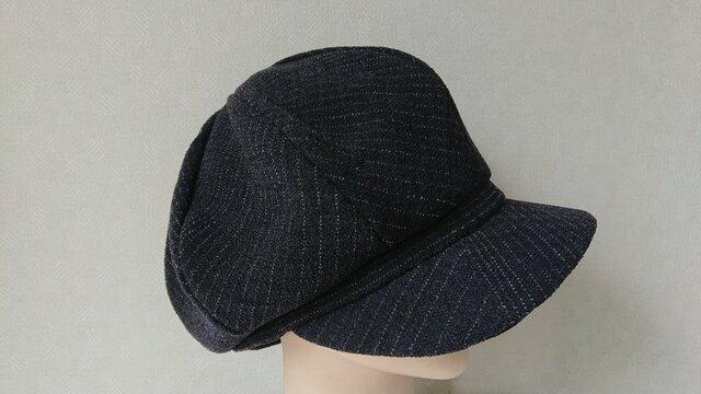 魅せる帽子☆ふんわり♪ペンシルストライプのキャケット~チャコールグレーの画像1枚目