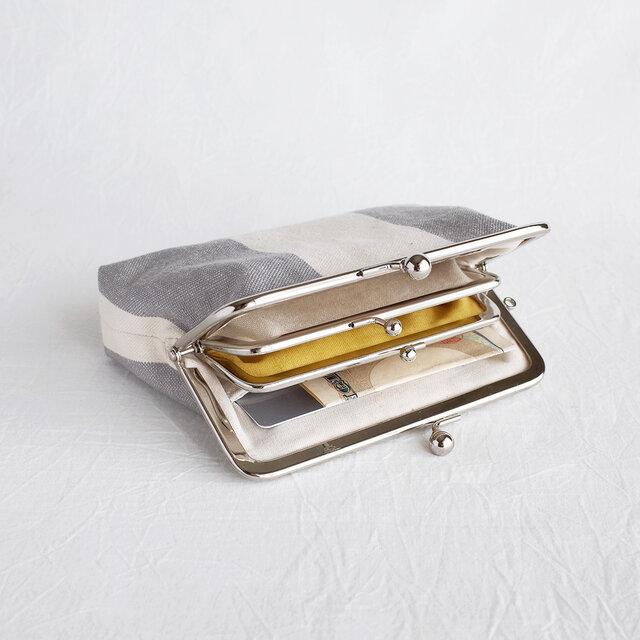 カードポケットつき親子がま口 11号帆布(お財布)グレーの画像1枚目