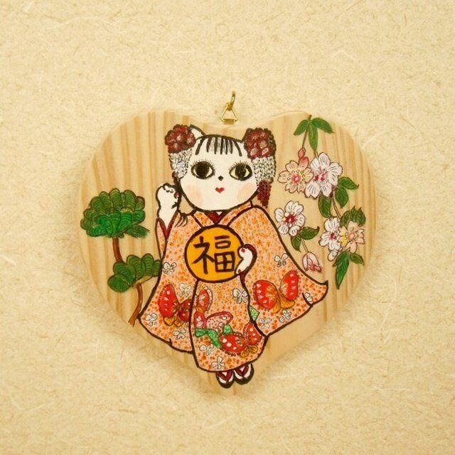 ハートの飾り猫~「福」を持つ猫003 絵馬風かわいい飾り絵 お正月飾りにの画像1枚目