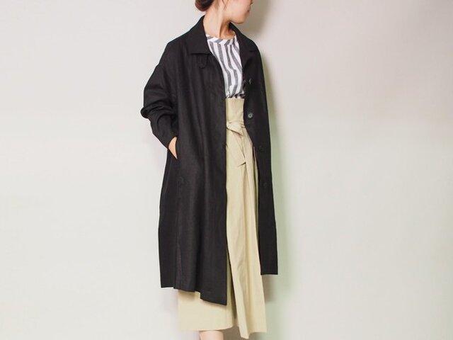 【送料無料】上質麻100% シャツカラーのボリューミーコート黒の画像1枚目
