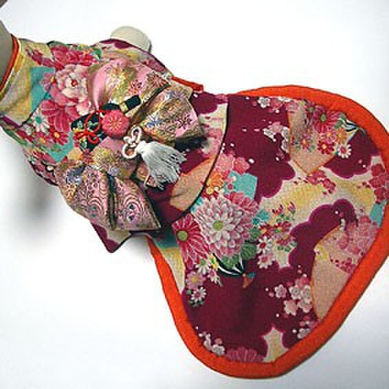 【犬着物】羽子板 オーダーメイド 犬の着物 犬服の画像1枚目