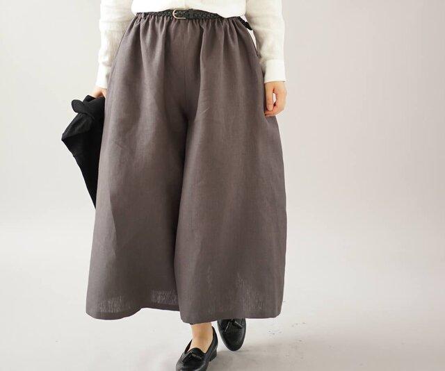 【wafu】先染め リネンパンツ ワイドスカーチョ キュロットパンツ ポケット付き 半端丈/黒橡 bo5-59の画像1枚目
