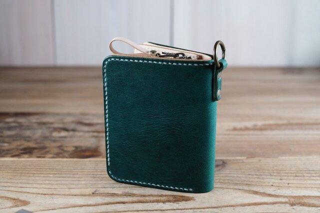 大きなカードポケットの二つ折りのお財布(グリーン)の画像1枚目