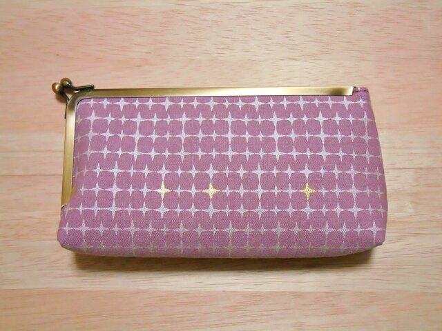 帆布ピンク製 #がま口 #ペンケース #マルチケース #星 #シルバー 銀 金の画像1枚目