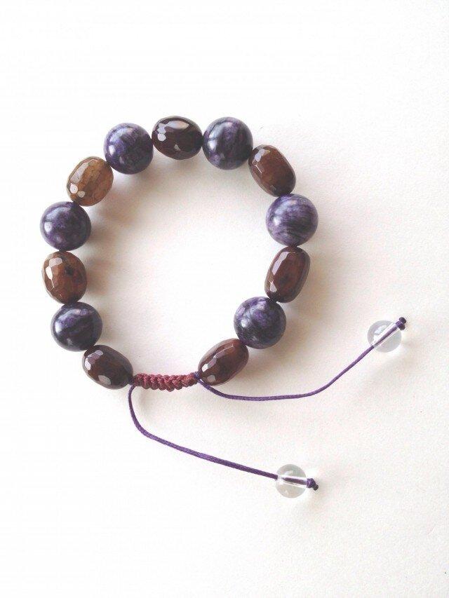 クラックアゲート・紫の天然石のブレスレットの画像1枚目