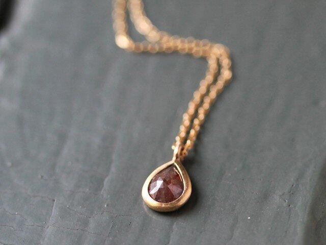 K18 ローズカット・ダイヤモンドネックレス 〈ペアシェイプ・ブラウン〉の画像1枚目